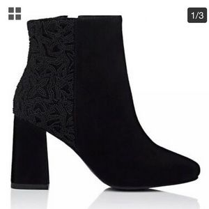 NIB Barney's Beaded Suede and Velvet Ankle Boots